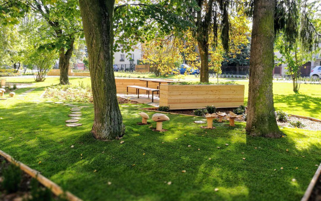 zdjęcie parku, widoczne są drzewa, alejki